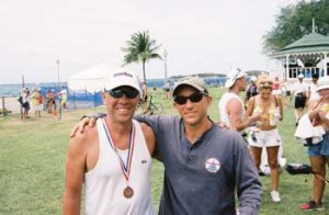 With Mike Klein at end of St. Croix 70.3 Ironman